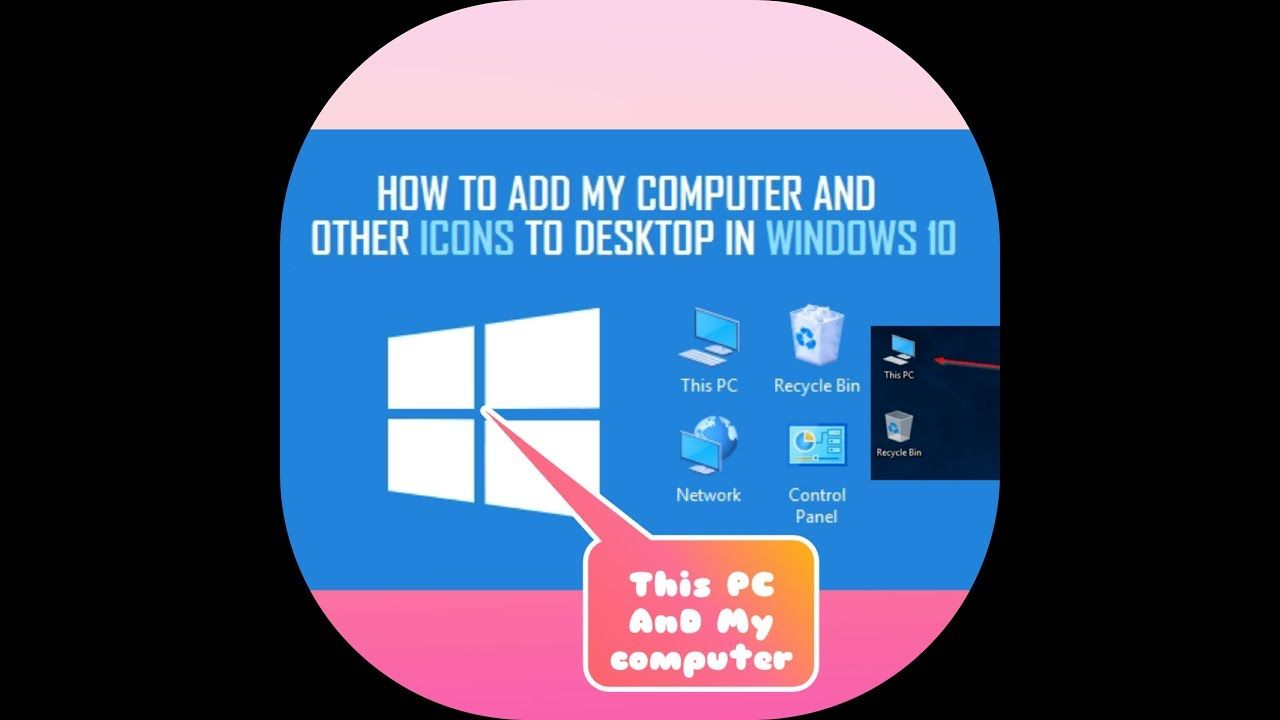 Techtroubleshoot Thispc Icon Missing Fixed Display The My Computer Icon On The Desktop In Windows 7 8 Or 10 Desktop Icons Computer Icon Desktop Windows
