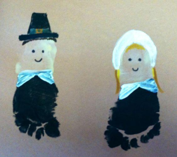 Thanksgiving Crafts for Kids to Make – Foot-Print Pilgrim Art