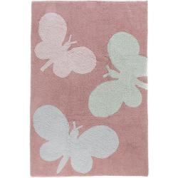 benuta Waschbarer Kinderteppich Bambini Butterflies Rosa 150x225 cm - Waschbarer Teppich für Kinderz