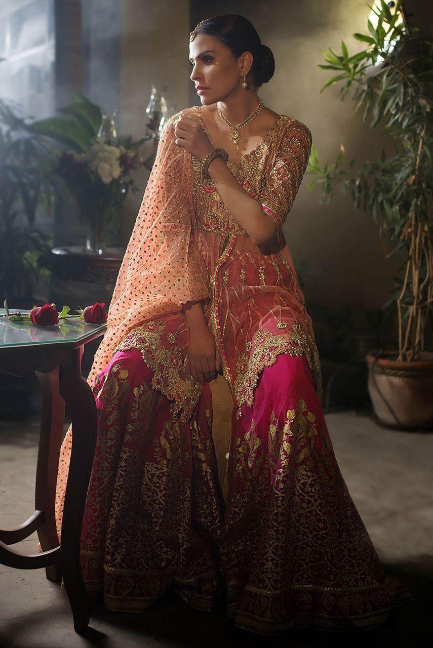 Beautiful designer mehndi dress embroidered in gold pink