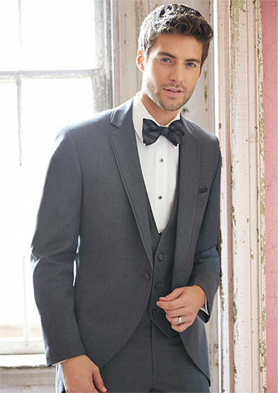 #SavviFormalwear Steel Grey Darcy by Allure Men - Comfort Blend, 1 button, Grey, Shown with matching vest, Allure Stripe bow tie, and luxe microfiber shirt.