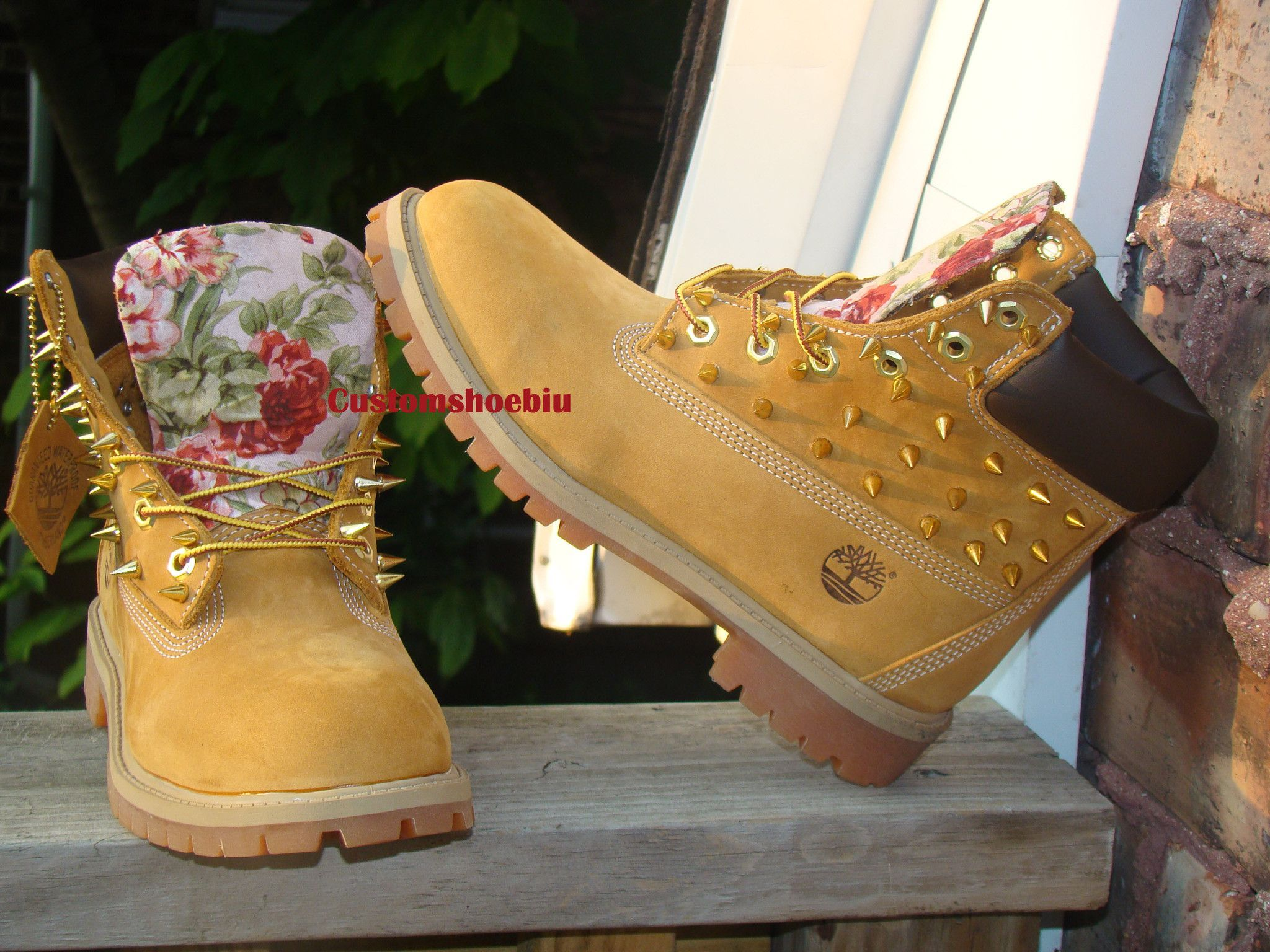 Custom Light Pink Timberland In Spiked Print Floral 2019 4A3RL5cjq