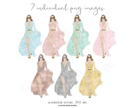 Catwalk Couture, Fashion Illustration Clipart, Watercolor Fashion ...