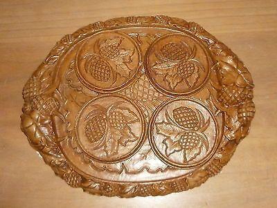 Vintage Genuine Burwood Acorn Coaster Set & Tray