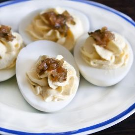 At 50 calories a pop, these deviled eggs are hardly devilish! Fewer egg yolks means this recipe has less fat than other deviled eggs.