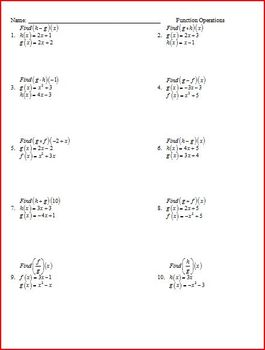 Composition And Function Operations Ws Composition