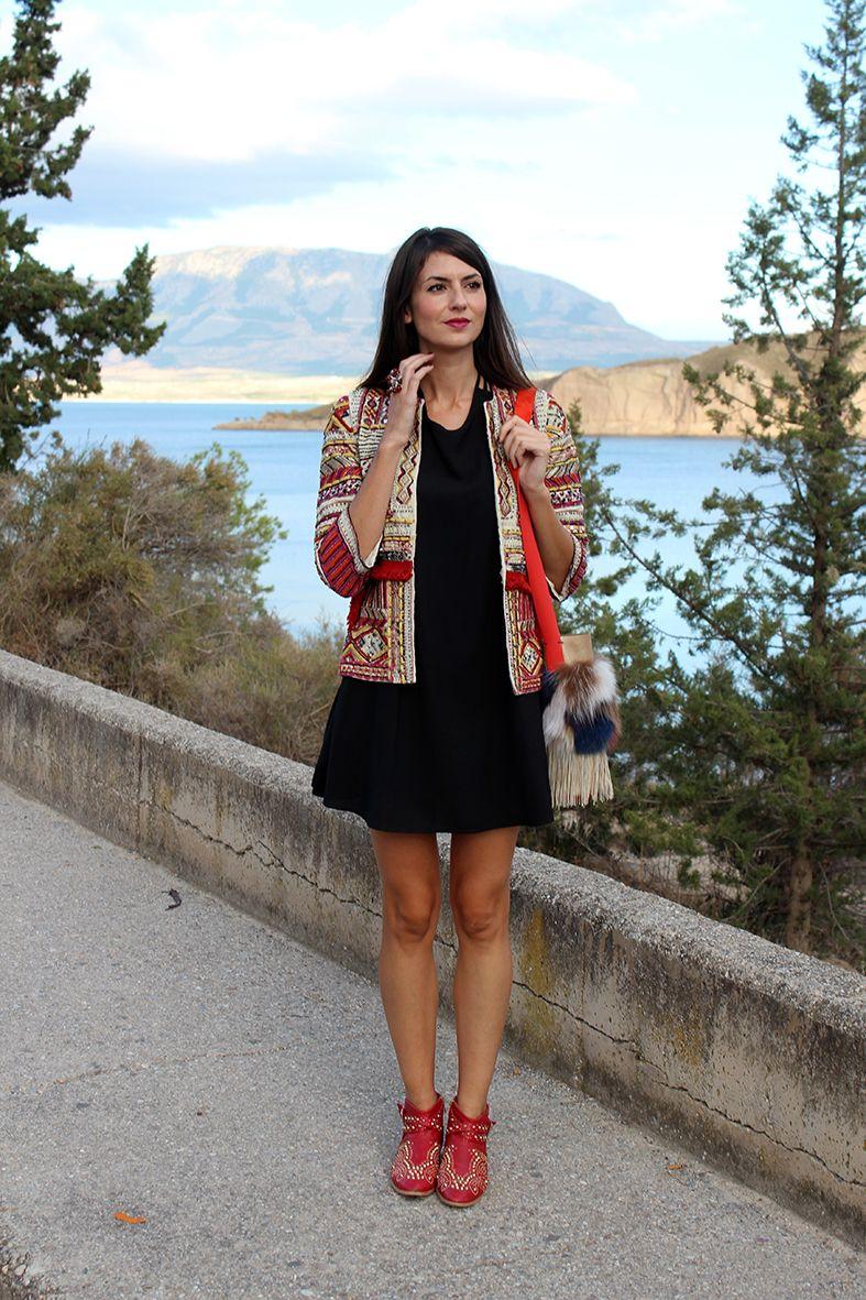 angelesydiablillos: Mini vestido + chaqueta étnica