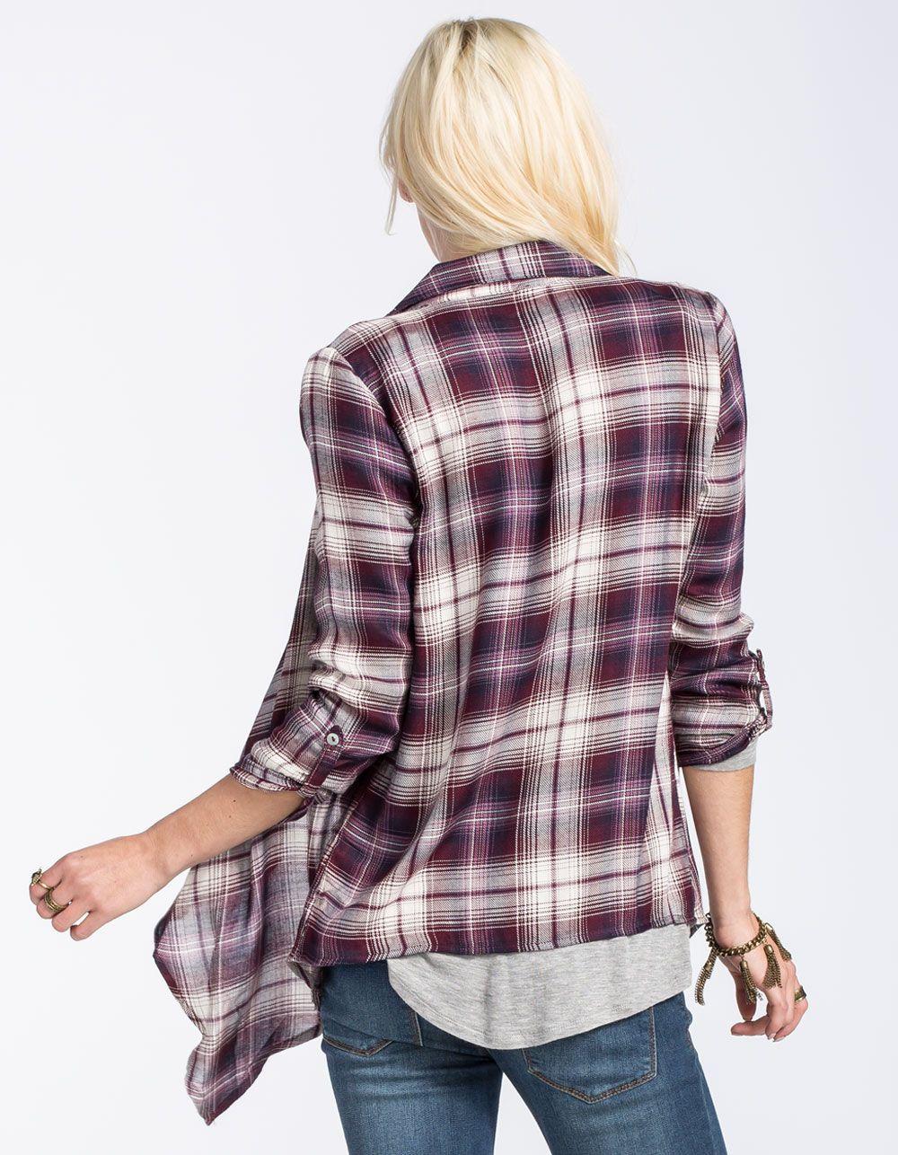 FULL TILT Plaid Womens Wrap Shirt 255851750 | Blouses & Shirts