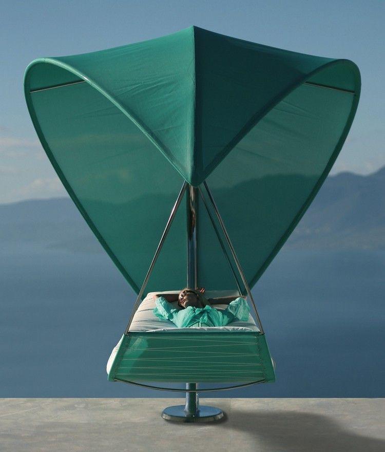 mobilier outdoor design - hamac Wave en vert foncé et aluminium ...