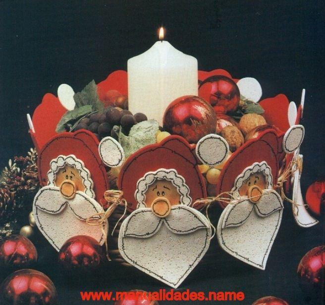 centro de mesa de papa noel en goma eva en manualidades con foami goma eva