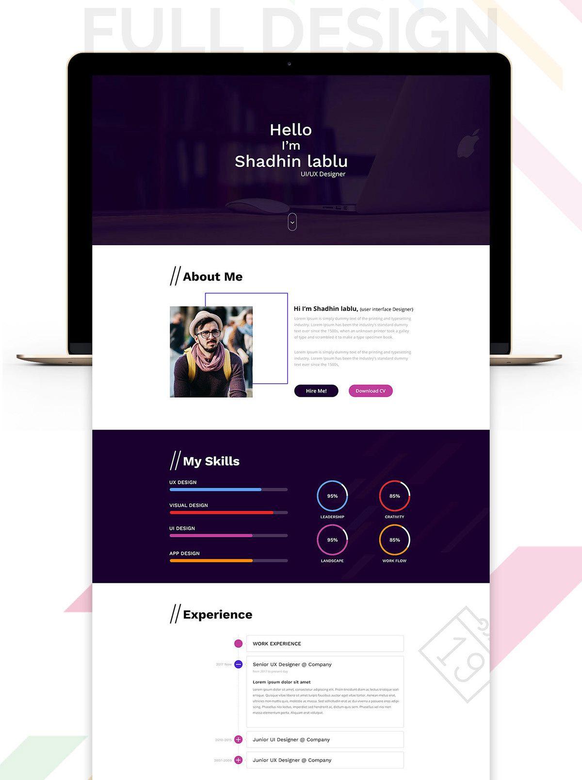 Free Portfolio PSD Template on Behance