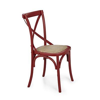 chaise en bouleau massif et rotin rouge meuble vieilli. Black Bedroom Furniture Sets. Home Design Ideas