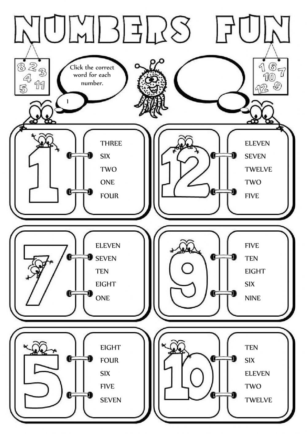 Numbers fun (112) Interactive worksheet Words for