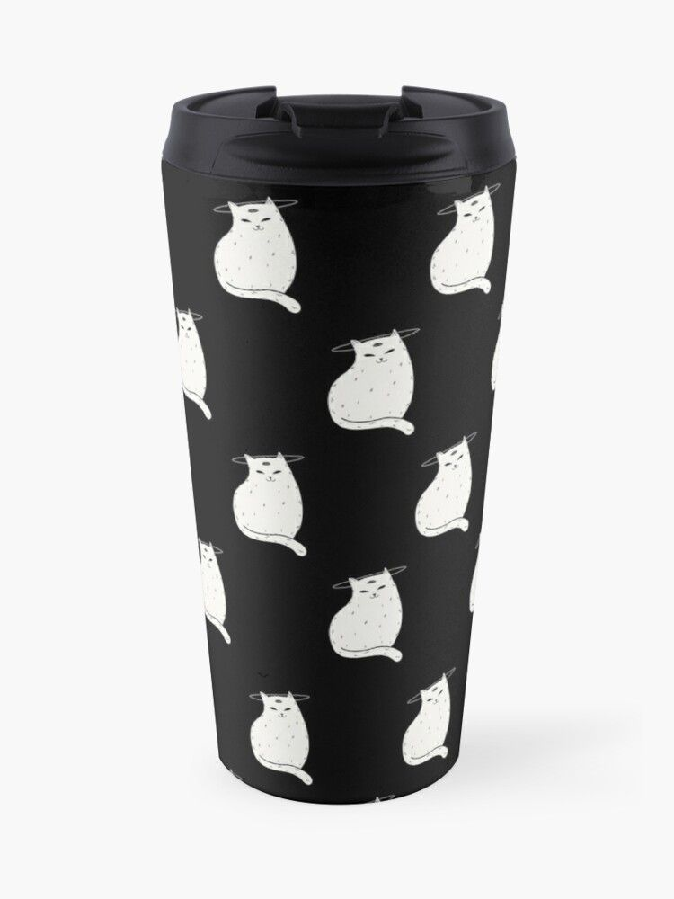 Travel Mug Three Eye Cat with halo in black and white pattern