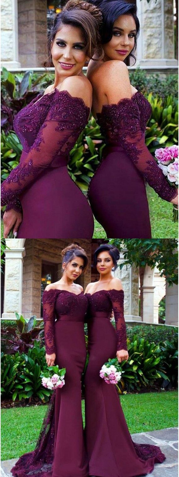 Elegant burgundy off the shoulder long sleeves beading with lace