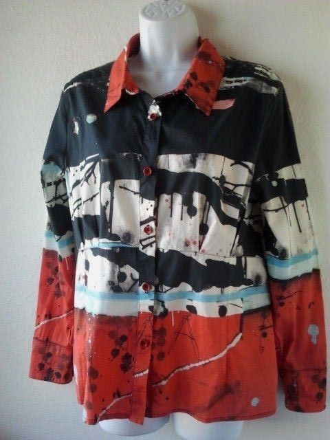 Aventures des Toiles Art To Wear Shirt SZ 12 US SIZE 42 Abstract Print Cotton LS #AventuresdesToiles #ButtonDownShirt #Casual