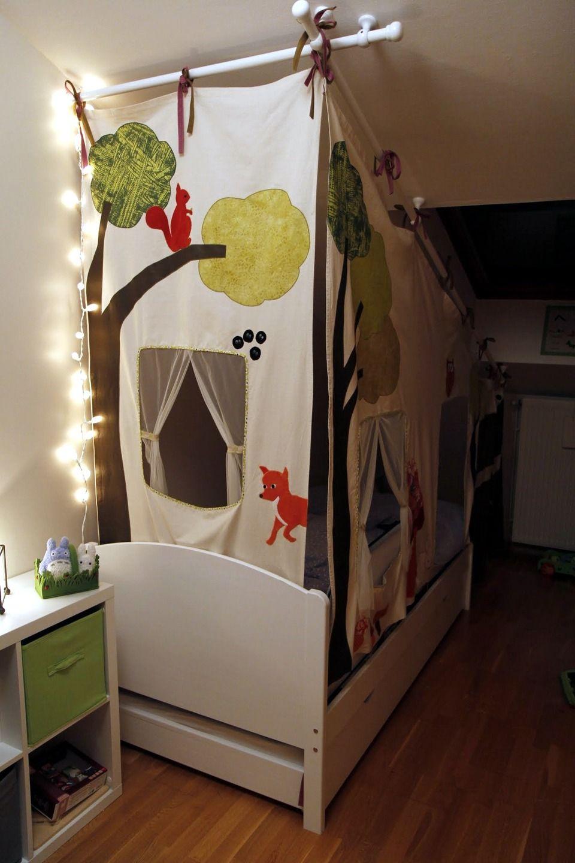 Tente de lit cabane dans la forêt - autres thèmes   jungle, pirates,  chevaliers, etc.   Chambre d enfant, de bébé par katikoo c4d411407a67