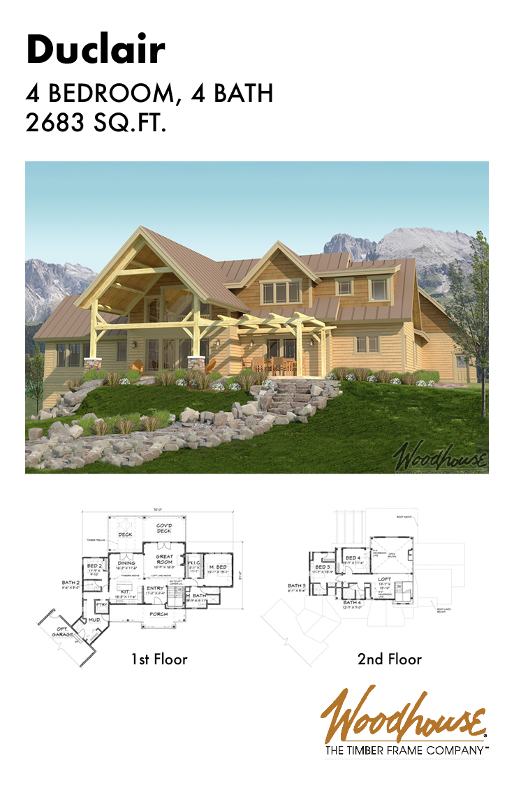 The Duclair Would Be Fit Perfectly On Any Lakeside Or Mountainside Property With 2 683 Square Feet This Timber Frame Plans Timber House Mountain House Plans