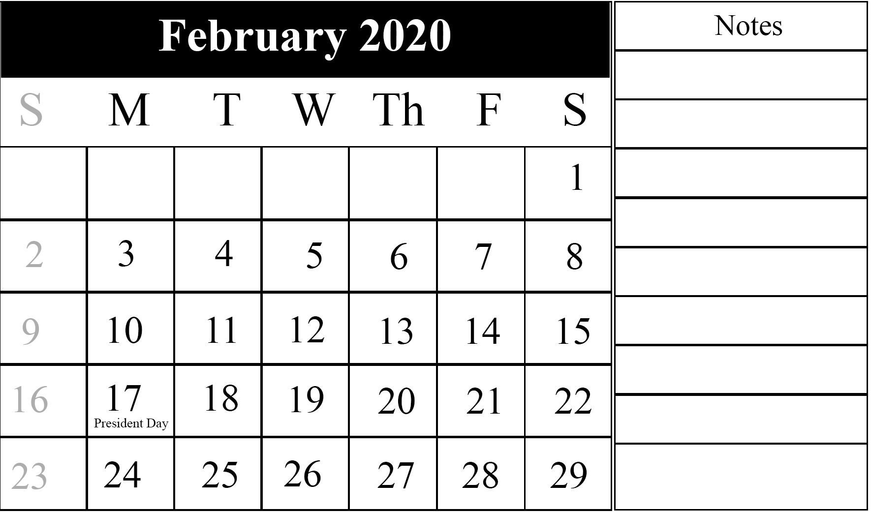 February Calendar Free Printable Template Word