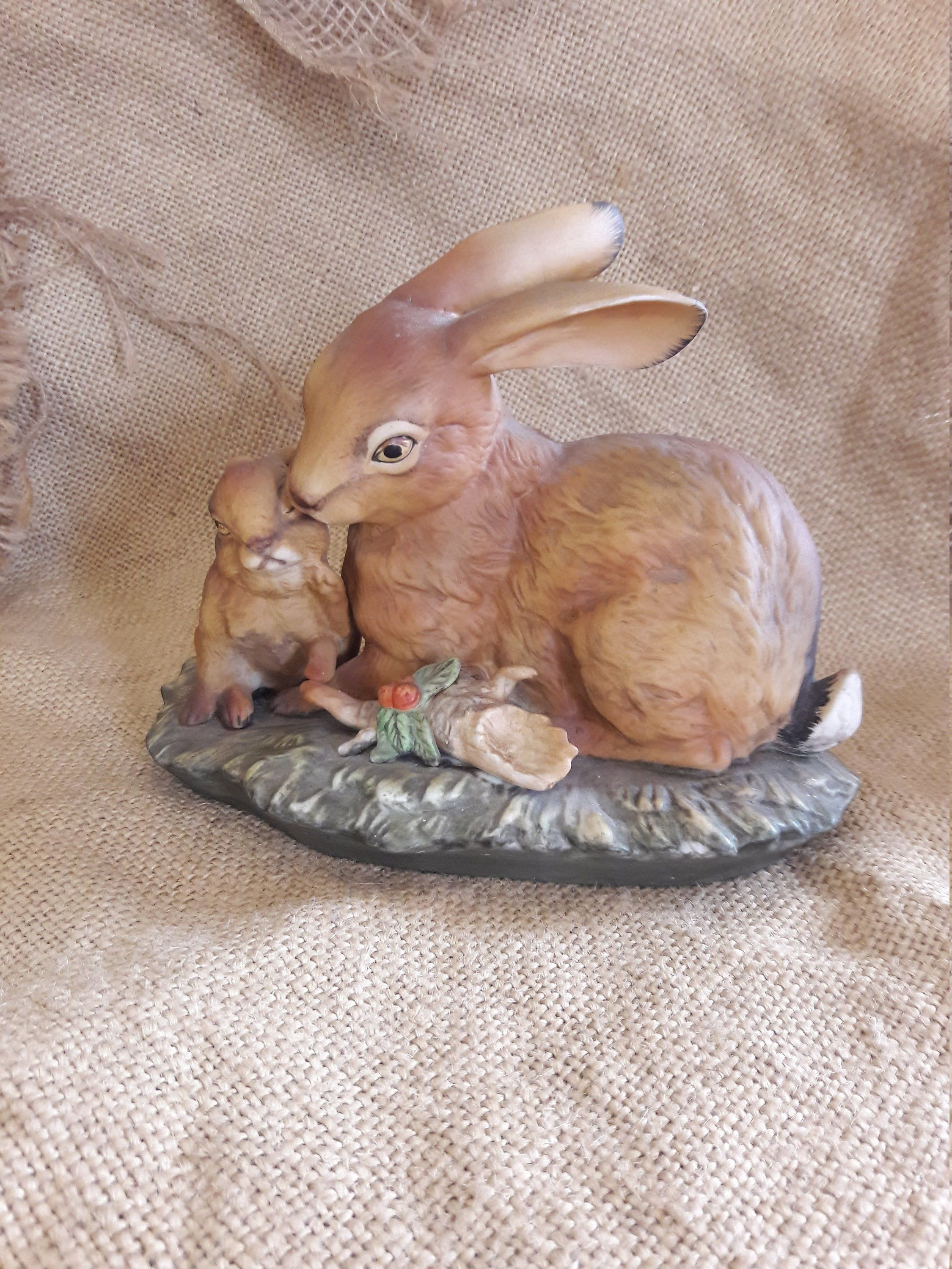 Brown Bunnies Brown Rabbit Realistic Mom And Baby Bunny Homco Home Interiors Spring Easter Decor Rustic Easter Animal Figurines Wild Bunny Bunny Figurine
