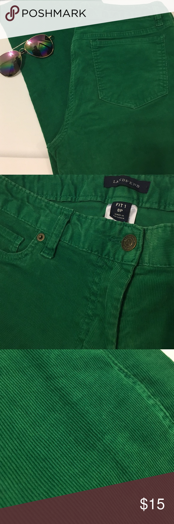 🍀Lands End cords🍀 Grass green petite length cords, great color, for spring ... or Christmas ! 🎄EUC Lands' End Pants Ankle & Cropped