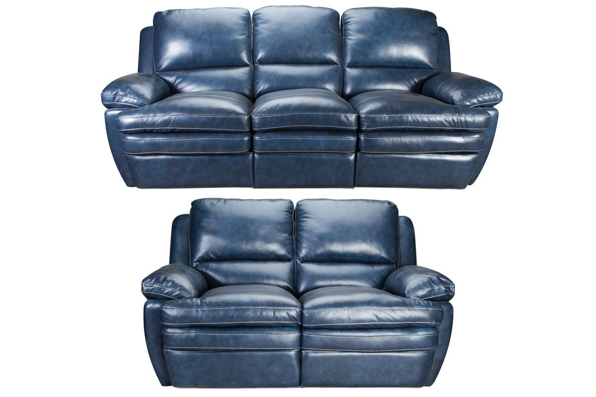 - Mazarine Power Reclining Leather Sofa + Loveseat Leather