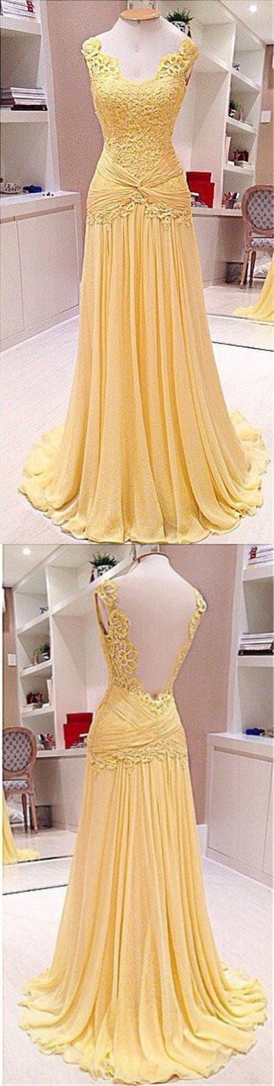Elegant vneck lace backless long aline yellow chiffon prom dresses