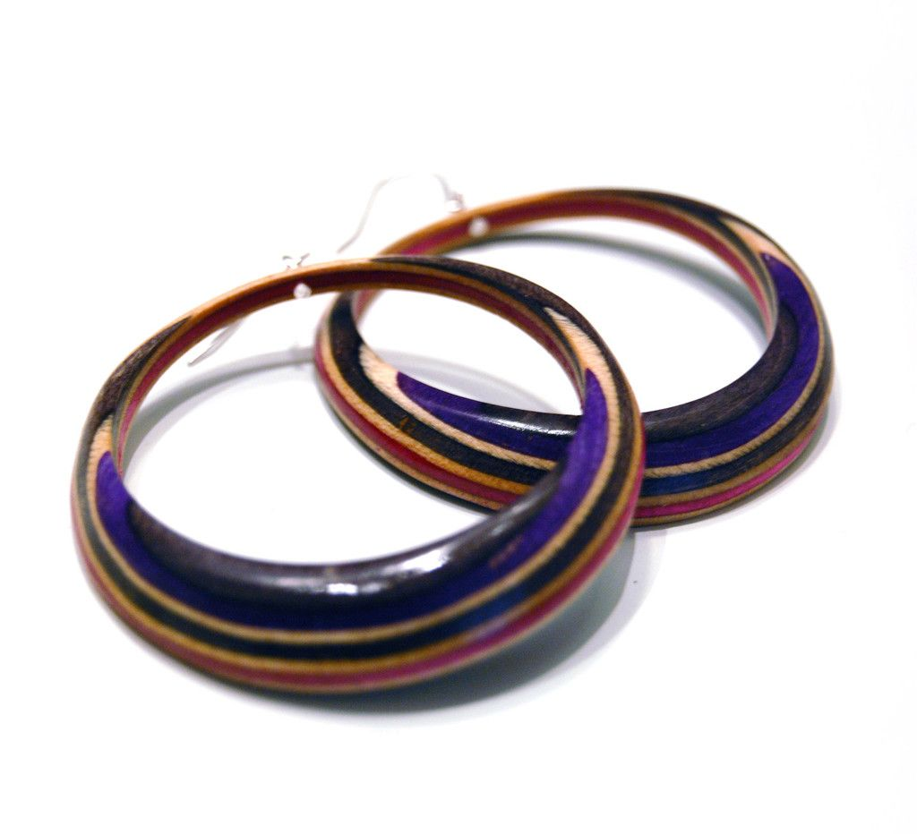 Maple XO makes amazing jewelry by recycling skateboards and giving them new life as, say, these Big Hoop Earrings. Yesss