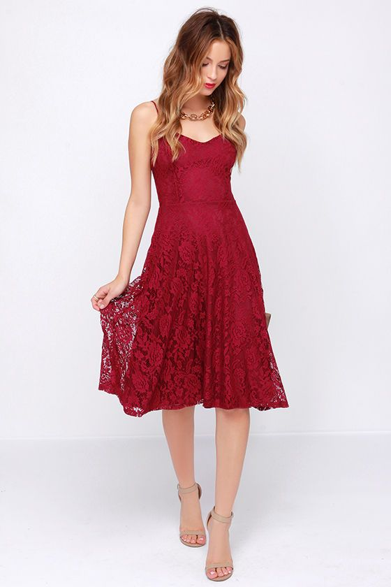 On The Boulevard Burgundy Lace Midi Dress Dresses