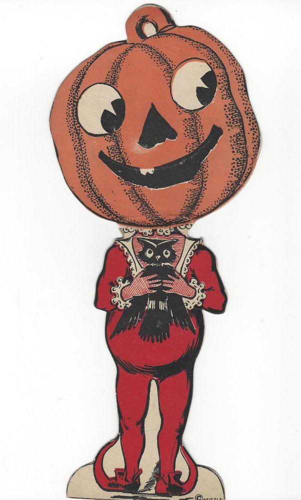Beistle vintage halloween decoration pumpkin head w black owl - vintage halloween decorations