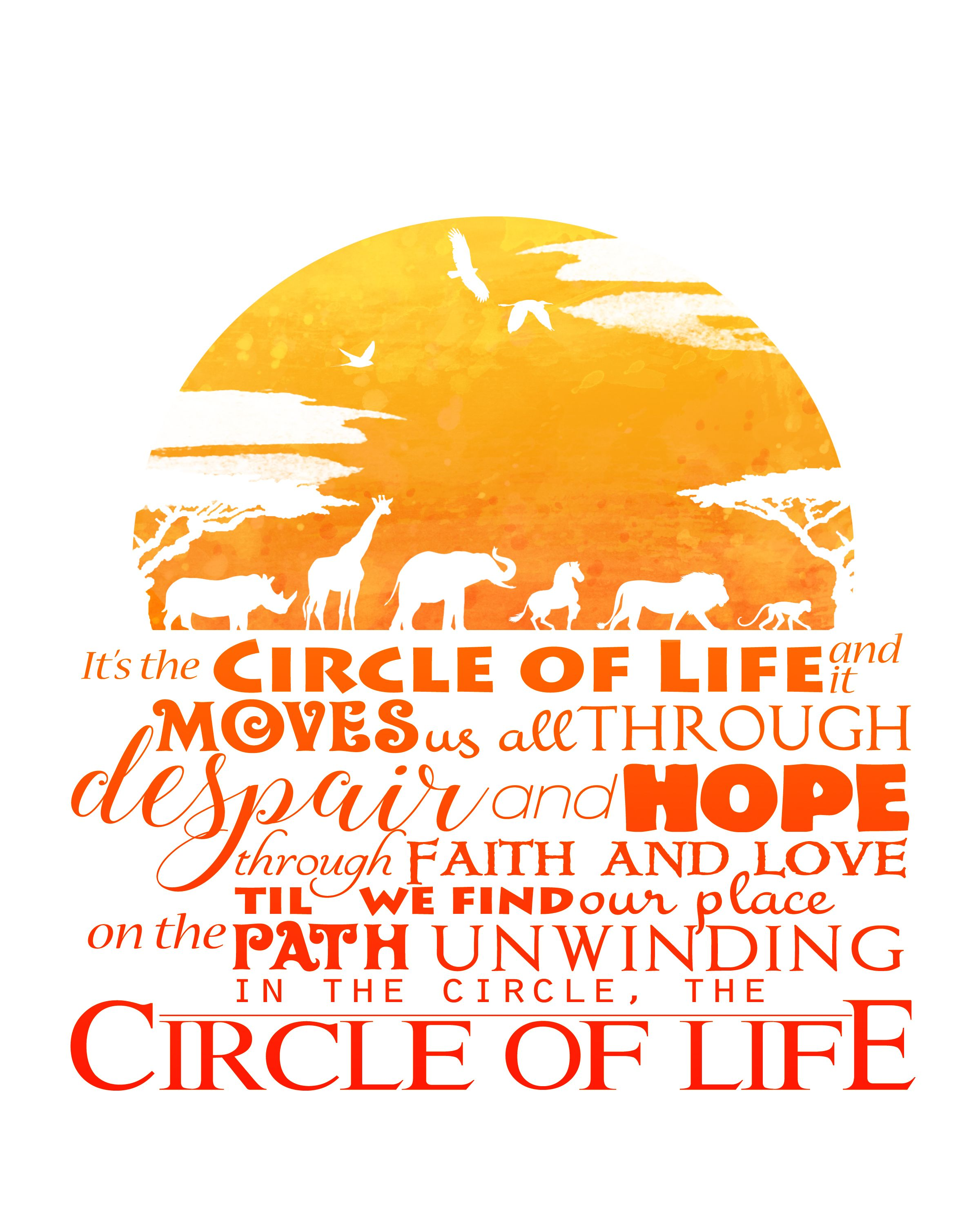Circle Of Life 8x10 Printable Lion King Poster Digital Instant