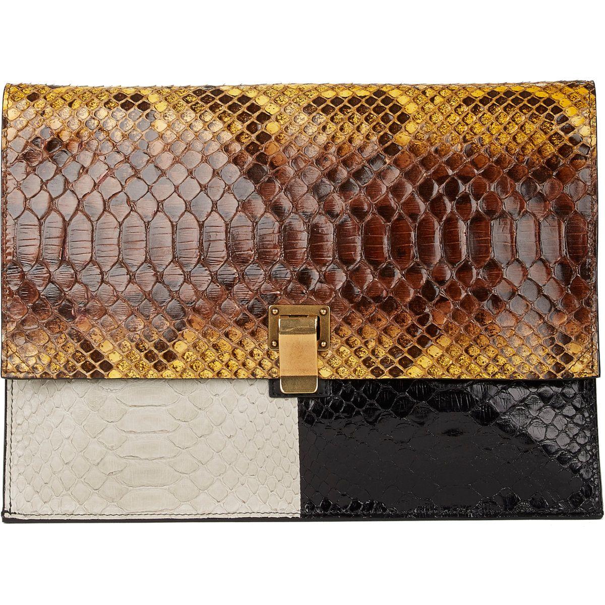 Proenza Schouler Colorblock Python Large Lunch Bag