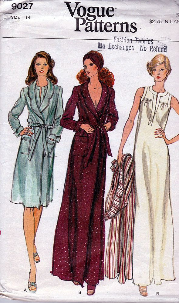 a36c84a6cb ... Womens Vintage Sewing Pattern One Size. Vogue 9027  ca. 1975  Misses   Robe and Gown  Size 14