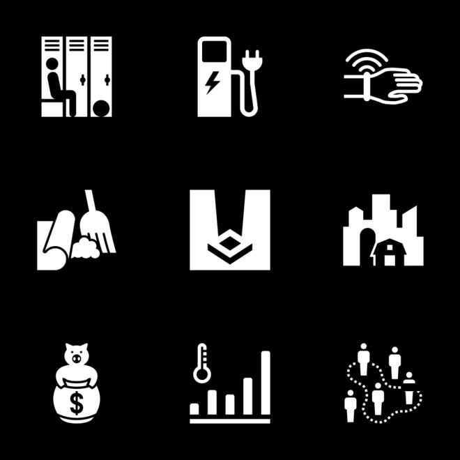 Iconathon Icon In Style Flat Rounded Square White On Black Icon Set Icon Square