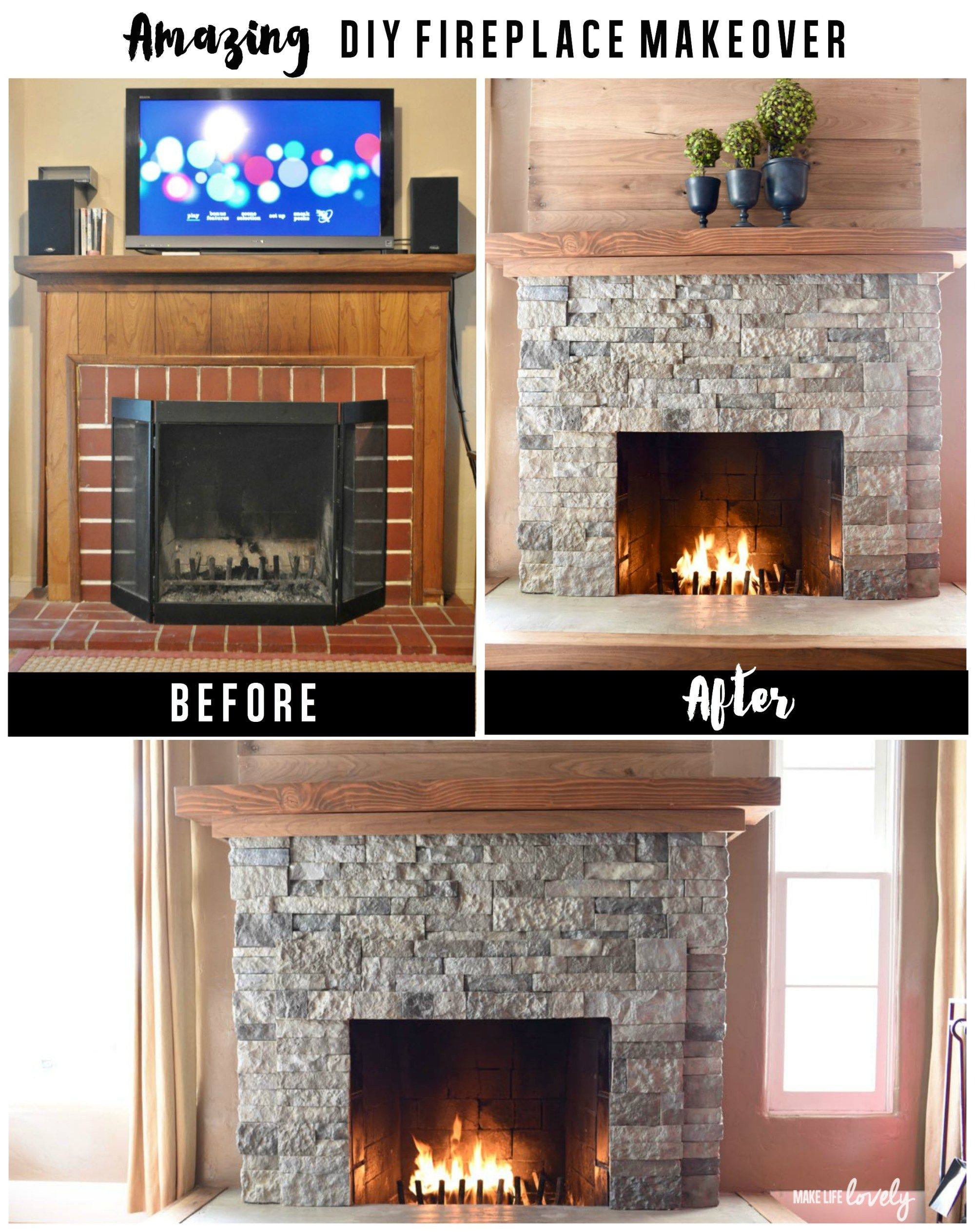 love this fireplace makeover the planked surround the chunky
