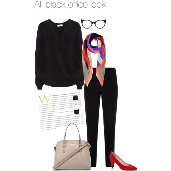 All black office look by klasstyle on Polyvore featuring Velvet by Graham & Spencer, Armani Collezioni, Kate Spade, Daniel Wellington, Alexander McQueen and Tory Burch