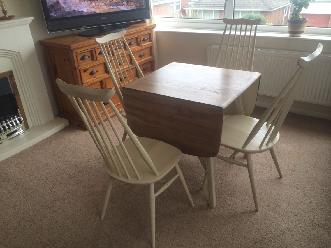 Ercol Dining Table 4 Chairs Painted In ASCP Old Ochre SOLD