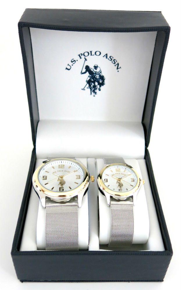 9da411e08c28 U.S. Polo Assn. Classic His and Her USC2250 Silver-Tone Mesh Strap Watch  Set  USPoloAssn  Fashion