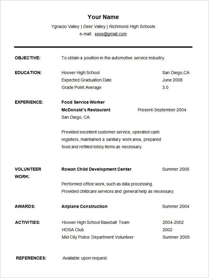 Resume Templates For Students Resume Templates High School Resume Template Student Resume Student Resume Template