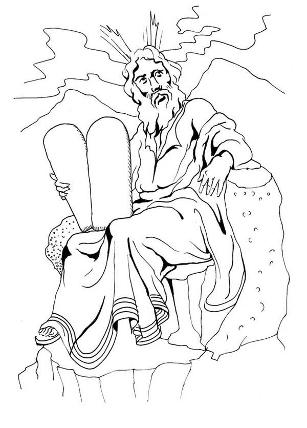 Moses And The Ten Commandments Of God Coloring Page Color Luna