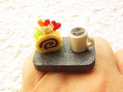 Anelli kawaii con cibo in miniatura