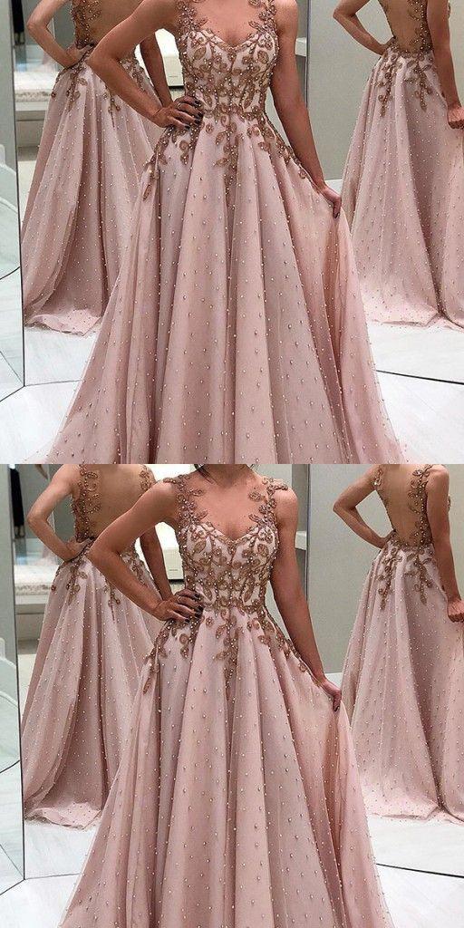 Elegante Abendkleider Lang Mit Träger | Rosa ...