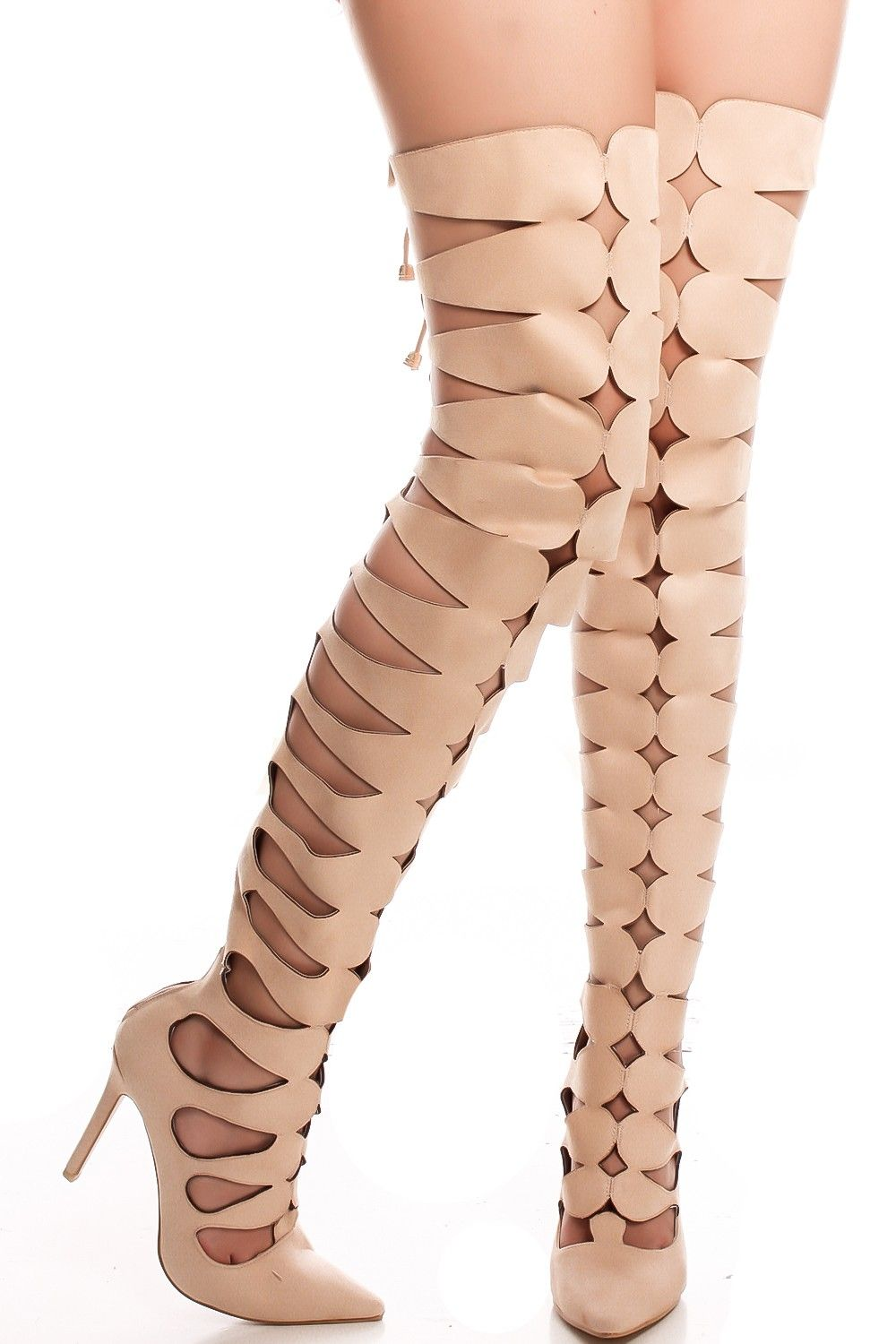 29975ad7828 Nude faux suede pointed toe cutout thigh high heel boots  suede  pointedtoe   thighhighheel