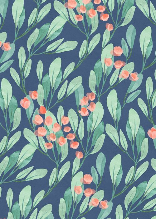 botanical leaves and floral print, navy, jade and poppy colors | Flyleaf florals vol.II on Behance
