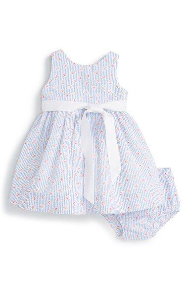 Ralph Lauren 'Seersucker' Dress (Baby Girls)
