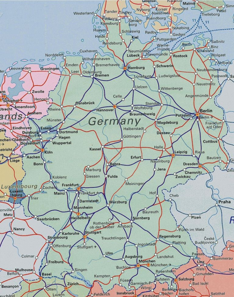 Germany Rail Map Pdf Download German Rail Network Map Major Tourist Attractions Maps 768 X 976 Pixels Germany Map Map Germany