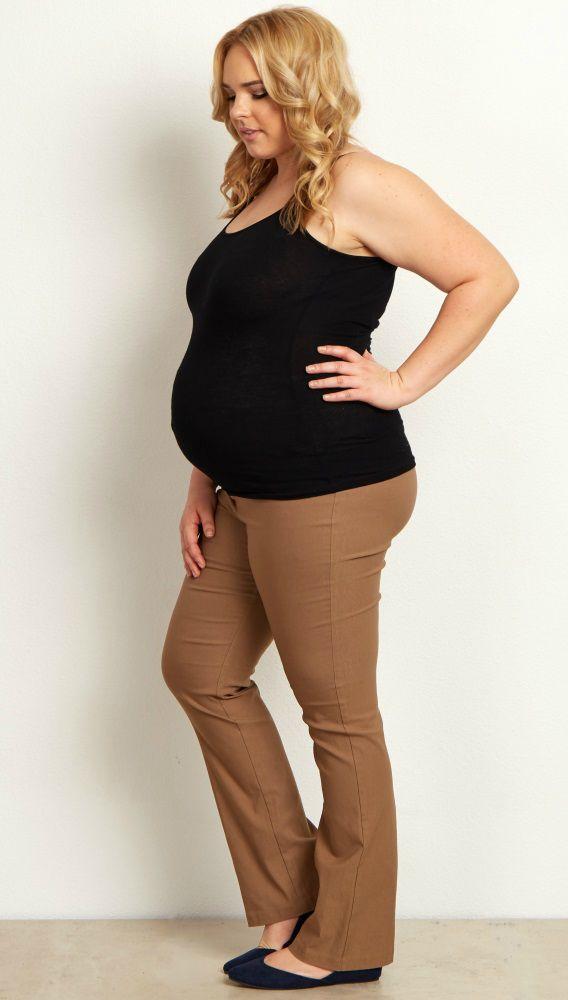 Mocha Straight Leg Plus Size Maternity Dress Pants Pinterest