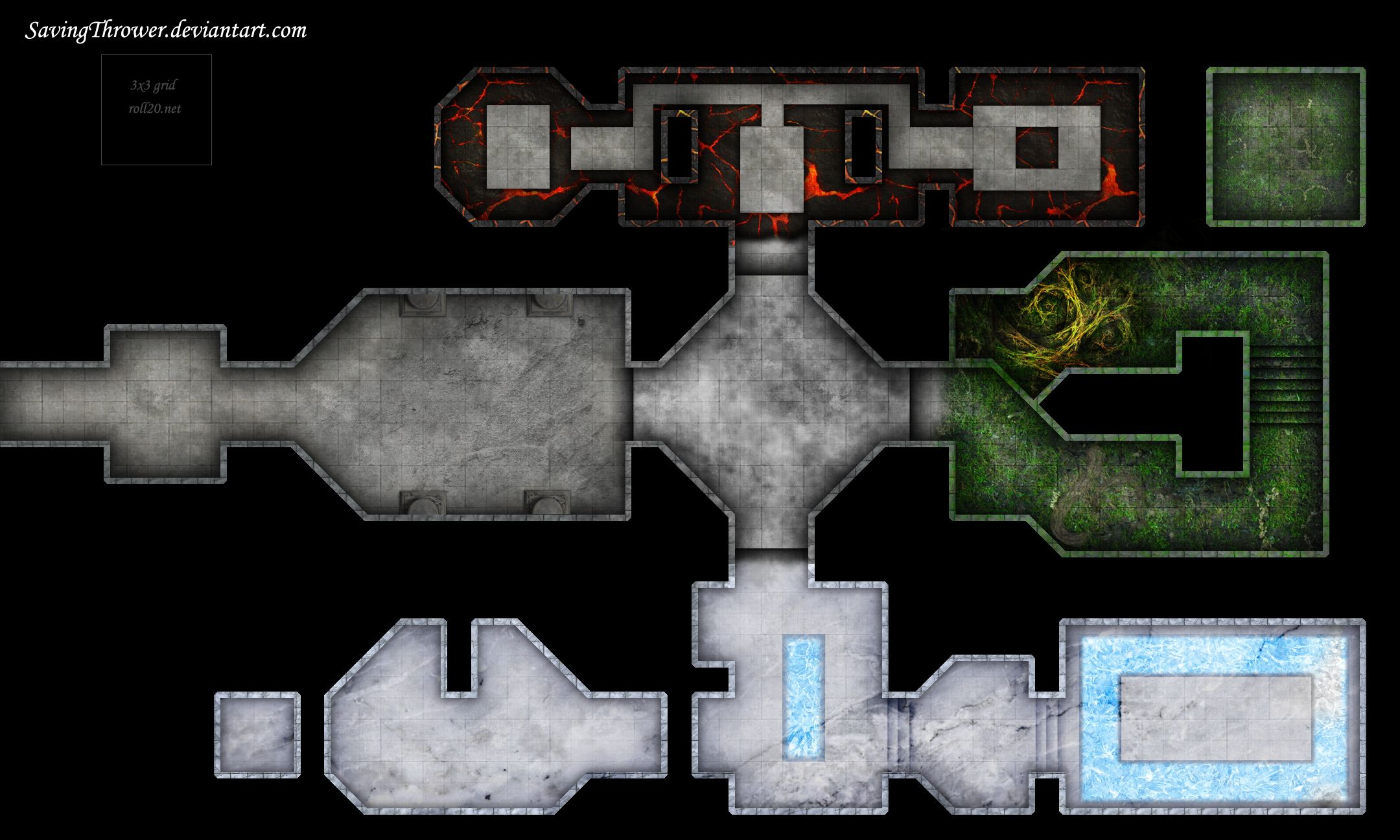 Clean elemental dungeon battlemap for roll20 by