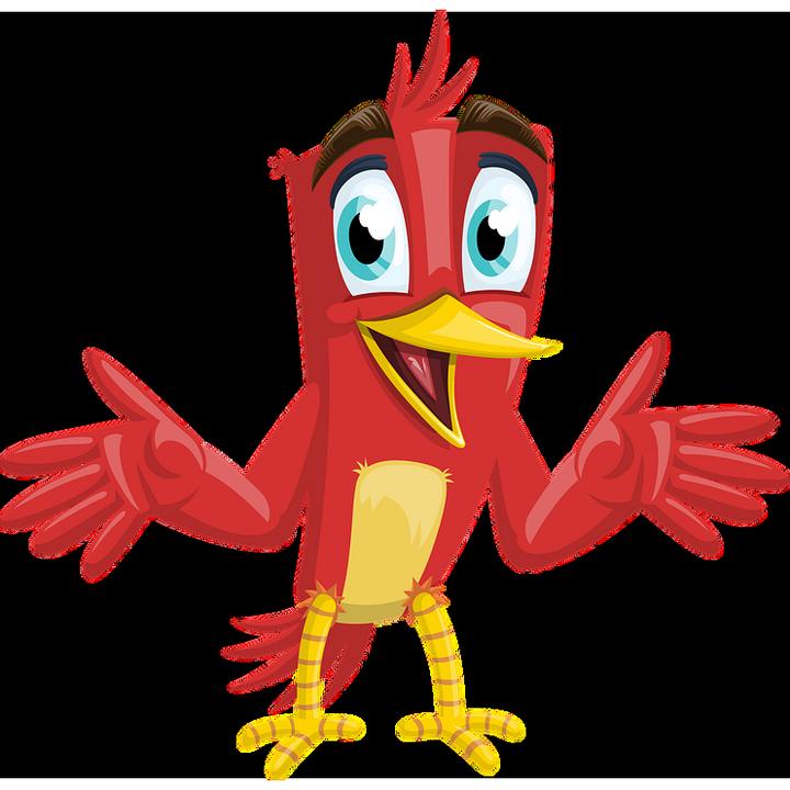 foto de HQ + smiley émoticône clipart cartoon oiseau rouge mignon avec loupe fond transparent gratuit la