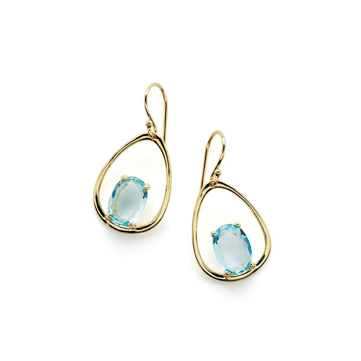 Ippolita 18K Rock Candy Tipped Oval Wire Earrings in London Blue Topaz IjDstLp1aJ
